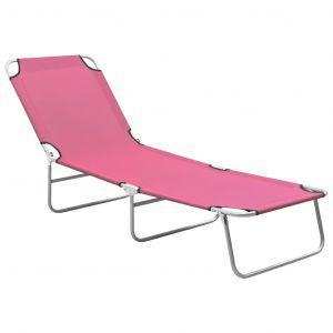 VidaXL Chaise longue pliable Acier et tissu Rose