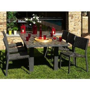 DCB Factory Table de jardin rectangulaire en aluminium et composite 160/220 x 100 x 74 cm