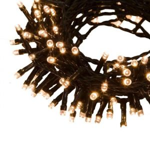 Lotti Guirlande lumineuse TLE - 24,5 m - 600 LED blanc chaud - Longueur : 24,5 m - 600 LED - 7 jeux de lumière sélectionnable + lumière fixe - Transformateur : 24 V