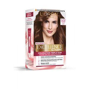 L'Oréal Paris Excellence Crème Coloration Permanente Triple Soin 100% Couverture Cheveux Blancs 5.02 Châtain Clair Givré Marron