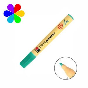 Marabu 011703067 - Marqueur pour tissu Textil Painter, vert, pointe ogive 2-4 mm