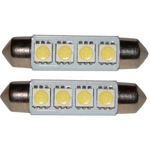Aerzetix : 2x ampoule C5W 12V 4LED SMD blanc effet xénon 41mm navette éclairage intérieur seuils de porte plafonnier pieds lecteur de carte coffre compartiment moteur plaque d'immatriculation