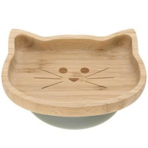 Lässig Assiette ventouse en bambou chat Little Chums