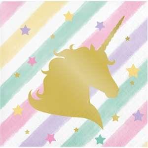 16 petites serviettes Licorne Rainbow Pastel