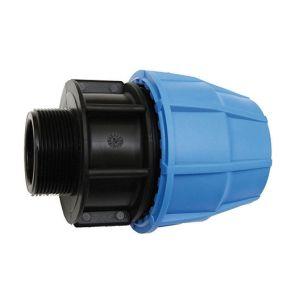 sferaco Raccord Mâle en polypropylène - Pour raccordement polyéthylène - Diamètre 50 mm - Filetage 50/60 raccord droit augmenté