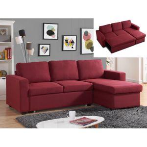 Canapé d'angle convertible et réversible en tissu TIRUA - Rouge bordeaux