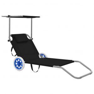 VidaXL Chaise longue pliable avec auvent et roues Acier Noir