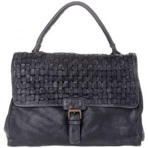 Dudu Sac pour femme à bandoulière en cuir véritable lavé teinté produit fini avec rabat tressé et poignée simple Black Slate