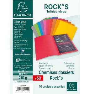 Exacompta 210500E - Paquet de 50 chemises ROCK''S 220, coloris assortis 10 teintes