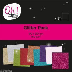 Toga Oh Glitter ! - Bloc de 18 feuilles de papier pailletées - 9 couleurs - 20 x 20 cm