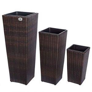 Deuba Set de 3 Pots de Fleurs bac à Fleurs Brun polyrotin Pot intérieur Amovible Design élégant résistant aux intempéries et UV intérieur et extérieur