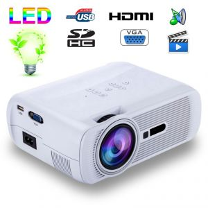 Yonis Mini vidéoprojecteur portable LED 1000 Lumens HD Carte SD USB