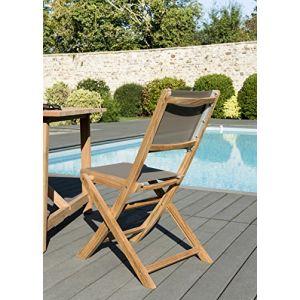 Macabane Lot de 2 chaises pliantes en teck et textilène - Couleur taupe - Lot de 2 chaises pliantes en textilène - Taupe