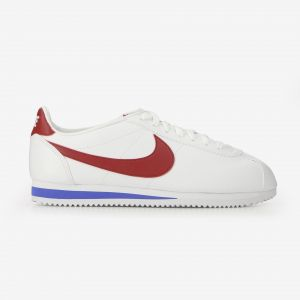 Nike Cortez Leather Blanche Rouge Et Bleue Baskets/Running Homme