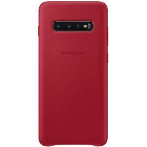 Samsung Coque S10+ Cuir rouge bordeau
