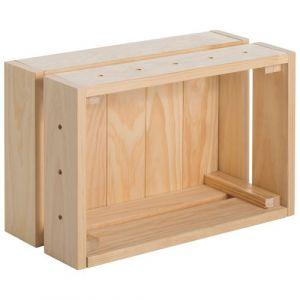 Astigarraga Caisse de rangement Home Box pin massif - 38.4 x 28 x 16.5 cm - bois massif - Bac de rangement, Fourre-tout