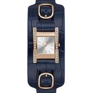 Guess : Montre W1136L4 - BUCKLE UP Boitier Acier Doré rose Bracelet Cuir Bleu Cadran Gris Femme