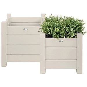 Esschert design Jardinière carré en bois (lot de 2) Blanc