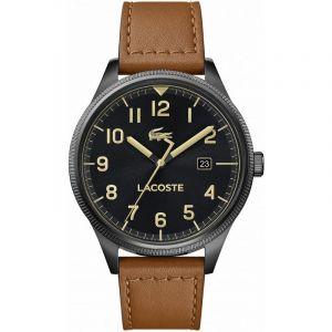 Lacoste Montre 2011021 - boitier acier plaqué ionique noir rond cadran noir bracelet cuir marron Homme
