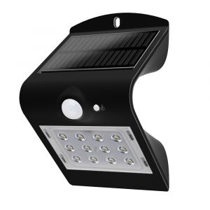 Fox Light - Applique murale solaire LED 1,5W 220Lm IP65 Noir
