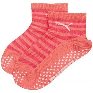 Puma Lot de deux paires de chaussettes antidérapantes pour bébés, Violet, Taille 19-22