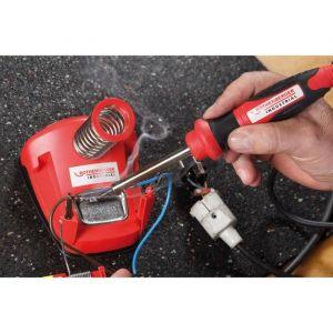 Rothenberger Fer à souder avec support - 30W - Compris avec 2 pannes, fil à souder et éponge - Rouge
