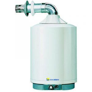 ELM Leblanc Chauffe-eau gaz à accumulation AGL-E et raccordement cheminée - Montage avec pieds (stable) - Capacité de 195 litres - Puissance: 10,10 kW
