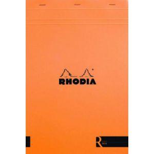 Rhodia 192011C - Bloc R N°19 orange format 22,5 x 29,7 cm 140 pages agrafées ivoire 90 g/m² détachables, ligné
