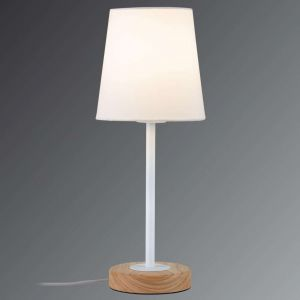 Paulmann Lampe à poser NEORDIC STELLAN - 20W - E27 - 230V - Blanc - Bois/métal - Dimmable - Sans ampoule