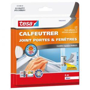Tesa Bourrelet caoutchouc profil E 9 mm x 6 m blanc Joint, Bourrelet, Toile de verre