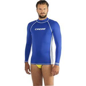 Cressi Rashguard Homme Haute de combinaison en tissu très élastique spéciale, Manches Longues, Protection Solaire UV (UPF) 50+ Bleu Taille - S/2 (48)