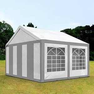 Intent24 TOOLPORT Tente de Réception 3x4 m Toile de Haute qualité 240g/m² PE Gris-Blanc Construction en Acier Galvanisé avec raccordement par vissage