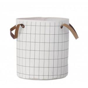 Ferm Living Panier Grid Medium / Ø 35 x H 40 cm blanc,noir en tissu