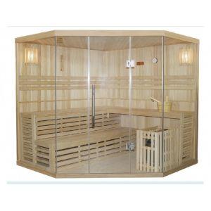 Vogue sauna Sauna Traditionnel Finlandais d'angle 4/5 places vitré Gamme prestige IMATRA - L220*P220*H210cm