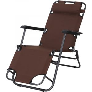 Outsunny Chaise longue transat 2 en 1 pliant inclinable multiposition marron