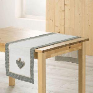 """C min de Table """"Fanny"""" 40x140cm Gris & Blanc Prix"""