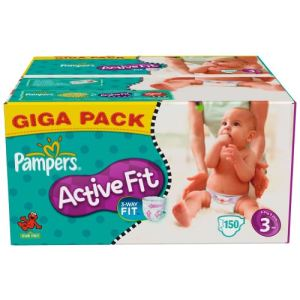 Pampers Active Fit taille 3 Midi (4-9 kg) - Giga pack x 150 couches