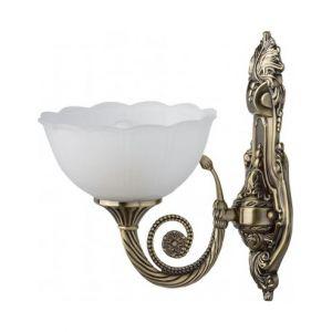 MW-Light Applique royal de style classique avec armature en métal couleur laiton et abat-jour en verre, pour chambre ou salon 1 ampoule non-incl. E27 1x60W 230V
