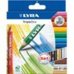 Lyra 3641121 - 12 Crayons de couleur Triple One assorties