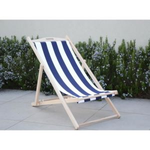 Chilienne luxe en bois hetre massif - Toile bleu et blanc - 58x95xH87 cm