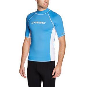 Cressi Rashguard Homme Haute de combinaison en tissu très élastique spéciale Manches Courtes Protection Solaire UV (UPF) 50+ Bleu/Blanc XXL/VI/56