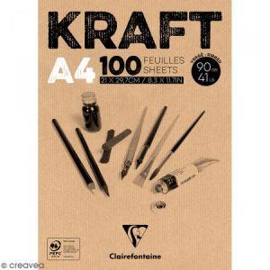 Clairefontaine 96545C - Bloc collé de 100 feuilles de papier Kraft vergé, 90 g/m², A4