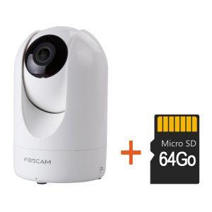 Foscam Caméra motorisée HD 1080p infrarouge 8m R2 avec carte SD 64 Go