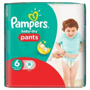 Pampers Baby-Dry Pants taille 6 Extra Large + 16 kg - 19 couches