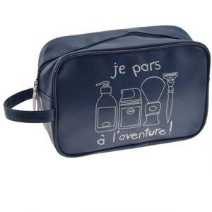 Incidence Paris 61900 Trousse de toilette rectangulaire Je pars à l'aventure Bleue Façon cuir Fermeture zip Anse de transport Poche intérieure zippée, 24 cm, Bleu