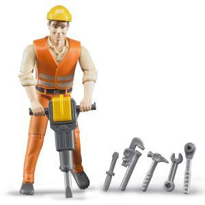Bruder Toys 60020 - Ouvrier avec accessoires de chantier