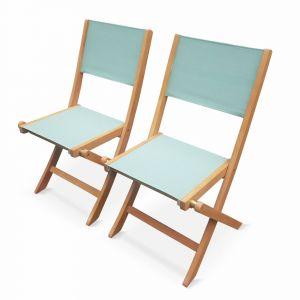 Alice's Garden Lot de 2 chaises de jardin en bois Almeria, 2 chaises pliantes Eucalyptus FSC huilé et textilène vert de gris