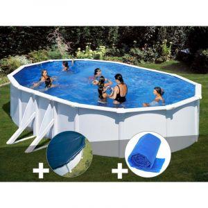 Gre Kit piscine acier blanc Bora Bora ovale 6,34 x 3,99 x 1,22 m + Bâche hiver + Bâche à bulles