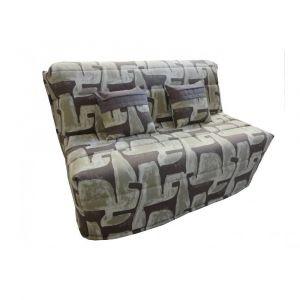 Inside75 Banquette BZ convertible AXEL motifs taupe 140*200cm matelas confort BULTEX