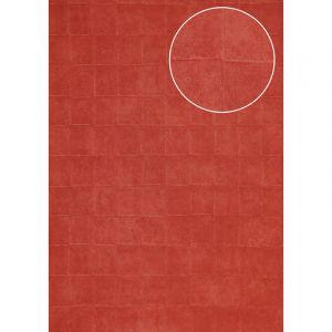 Atlas Papier peint aspect pierre carrelage INS-0805-8 papier peint texturé gaufré avec des figures géométriques brillant rouge rouge-brun rouge rubis nacré 7,035 m2